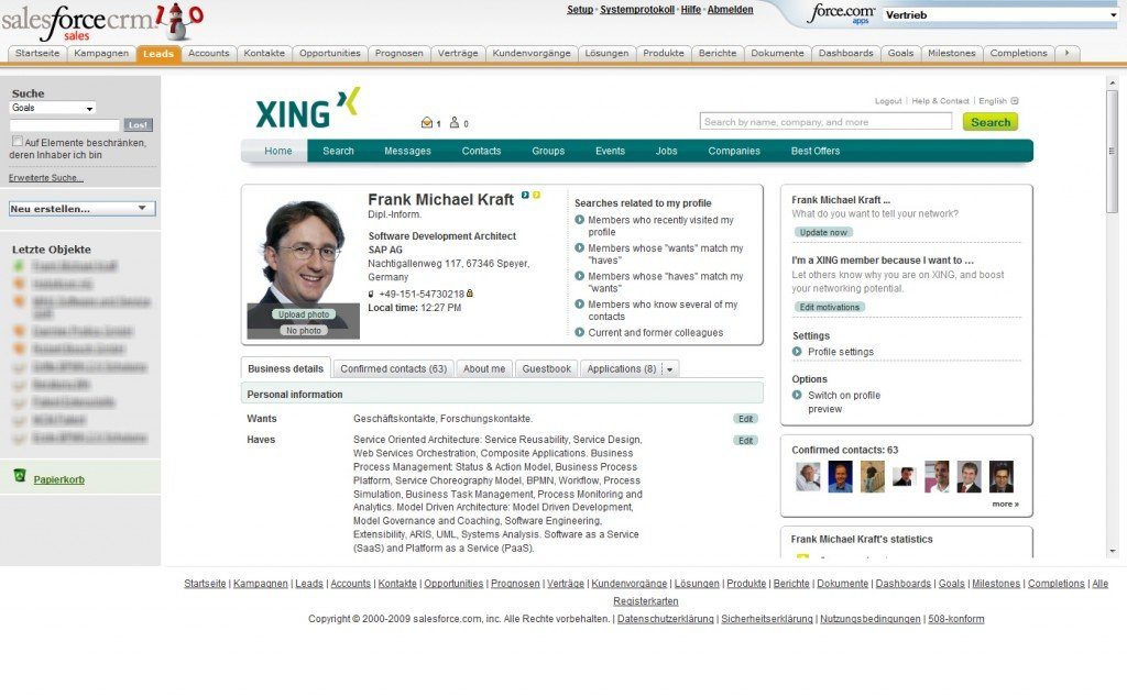 2-XING Profile in Salesforce