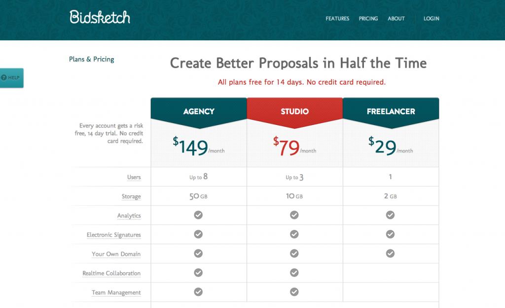 bidsketch pricing webtoolswiki