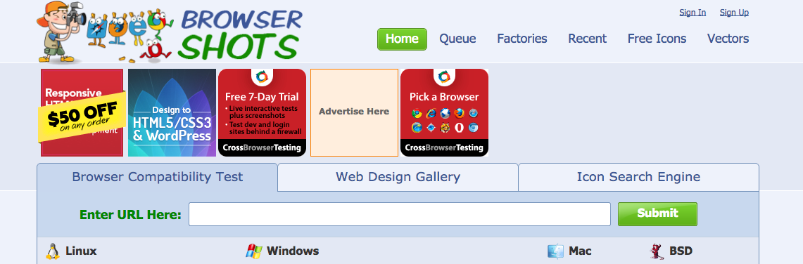 Check Browser Compatibility  Cross Platform Browser Test   Browsershots