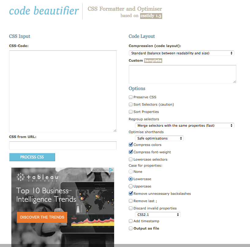 Code Beautifier  CSS Formatter and Optimiser