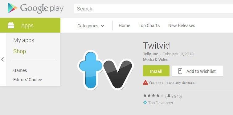 Twitvide Google Play