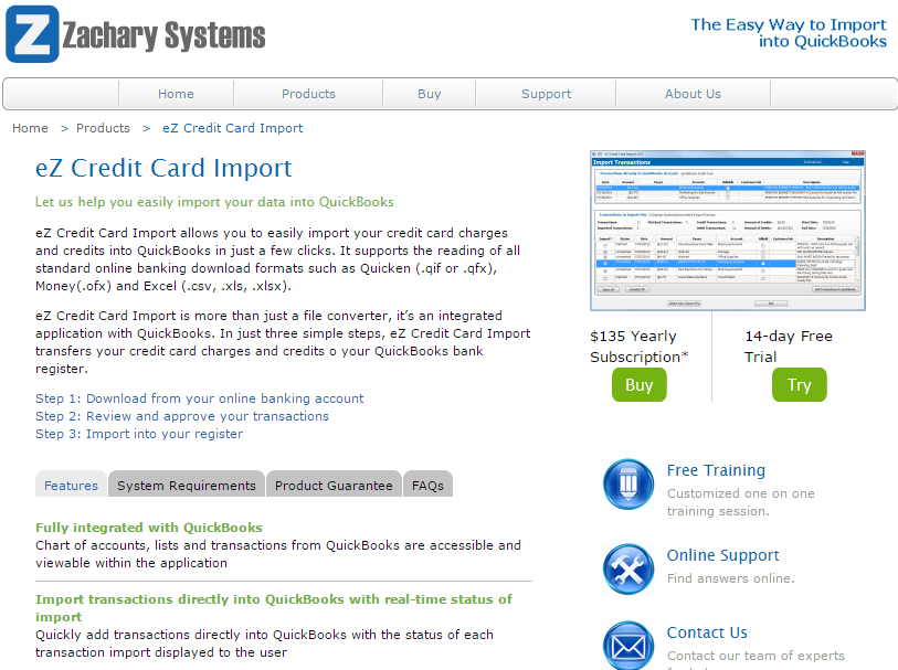 ez credit card import