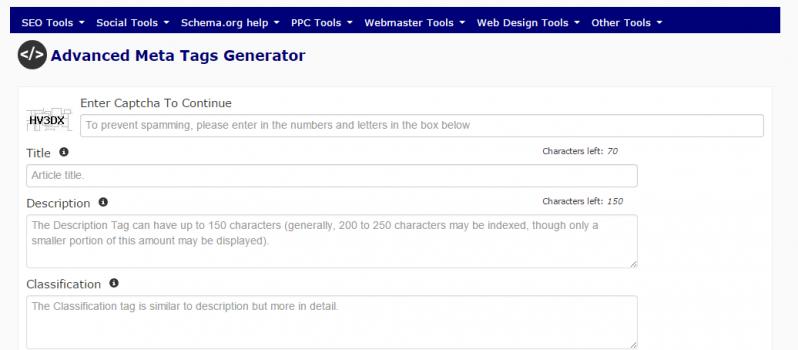 Advanced Meta Tags Generator