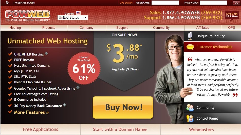 Host unlimited sites with PowWeb